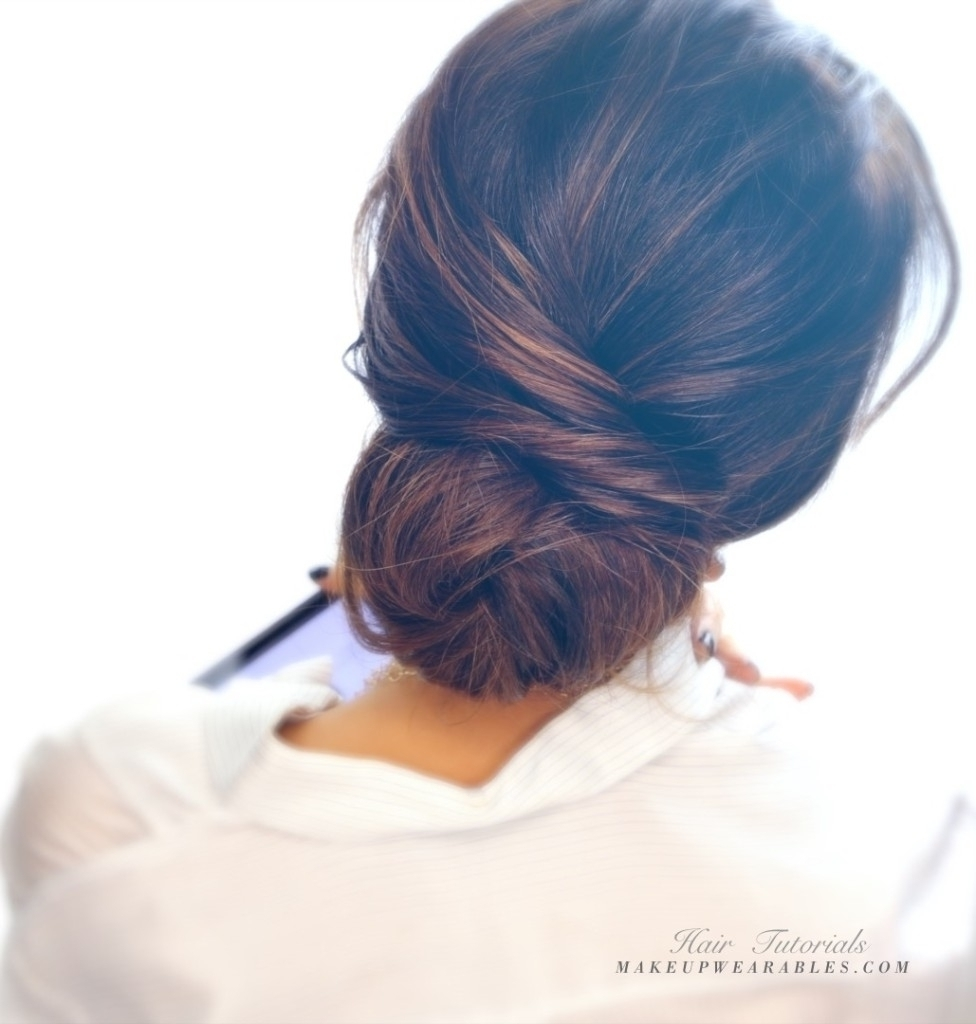 Messy Updos For Medium Hair Ute Elegant Bun Hairstyle Totally Easy Intended For Messy Updos For Medium Hair (View 10 of 15)