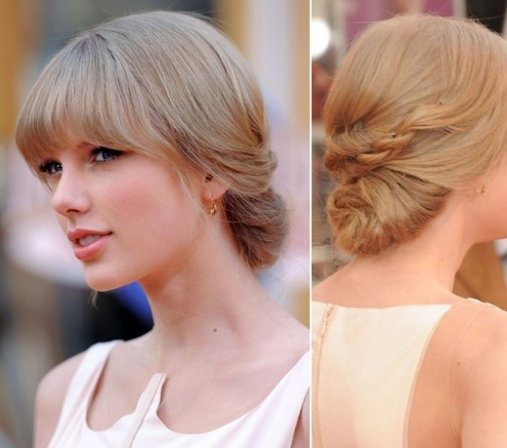 Modern Updo Braided For Long Thick Blonde Hair Side Parted Updos In Inside Updo Hairstyles With Bangs For Medium Length Hair (View 10 of 15)