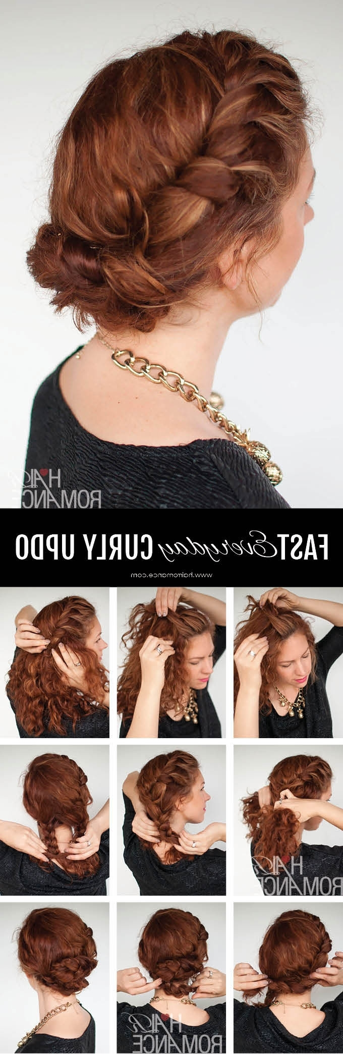 My Quick Everyday Curly Hair Updo – Hair Romance In Updos For Curly Hair (View 9 of 15)