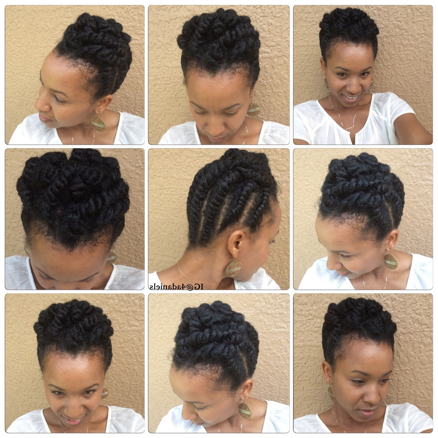 Natural Hair| Chunky Flat Twist Protectivestyle Updo Short/medium In Natural Hair Updos For Medium Hair (View 7 of 15)
