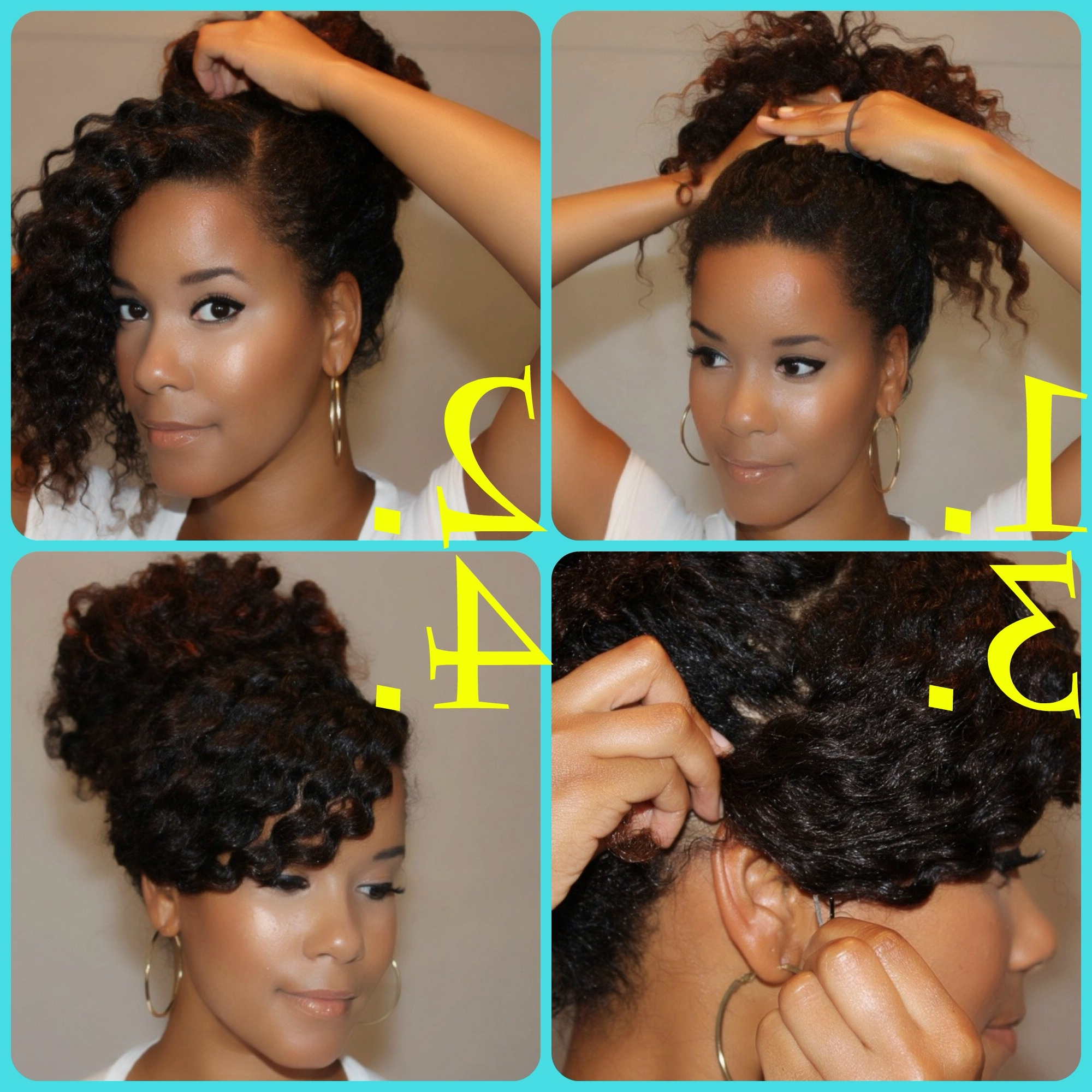 Natural Hair Diy : 5 Back To School Inspired Styles | High Bun Regarding Updo Hairstyles For Super Curly Hair (View 13 of 15)