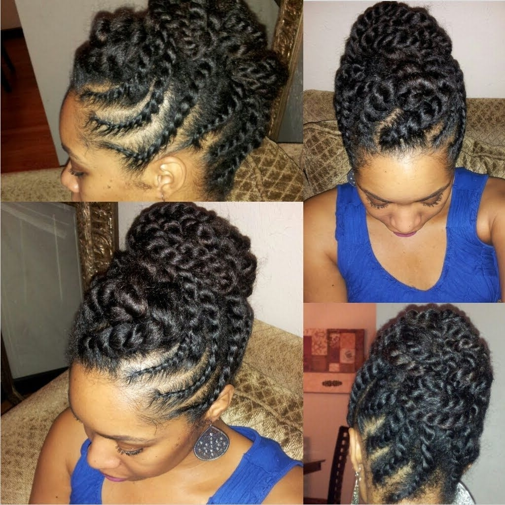 Natural Hair Flat Twist Updo Protective Style [Video | Flat Twist In Twisted Updo Natural Hairstyles (View 7 of 15)