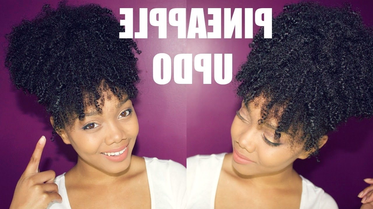 Natural Hair | The Easiest Pineapple Updo On Kinky Curly Hair – Youtube With Curly Updos For Black Hair (View 8 of 15)