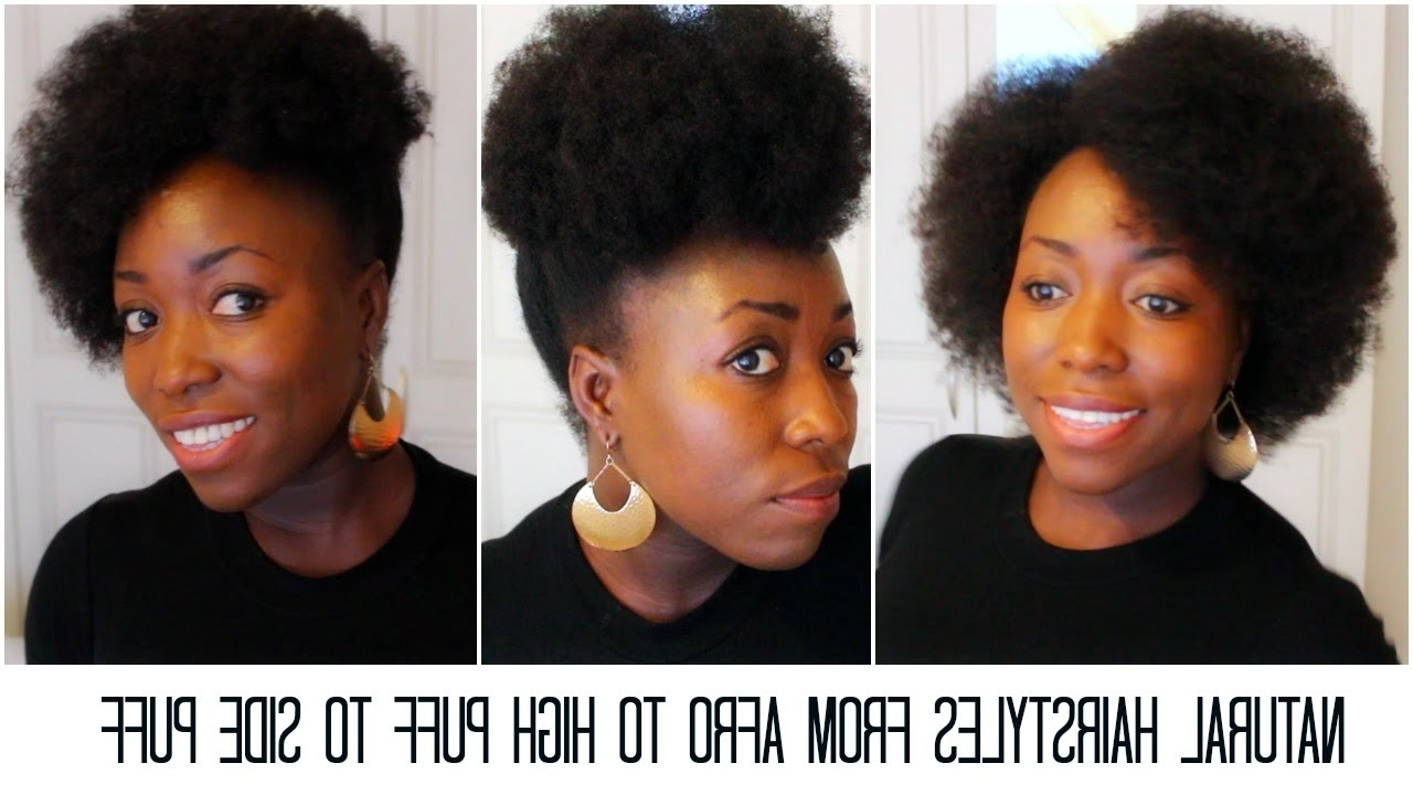 Natural Hairstyles From Afro To High Puff To Side Puff Tutorial On For Updos For Long Natural Hair (View 12 of 15)