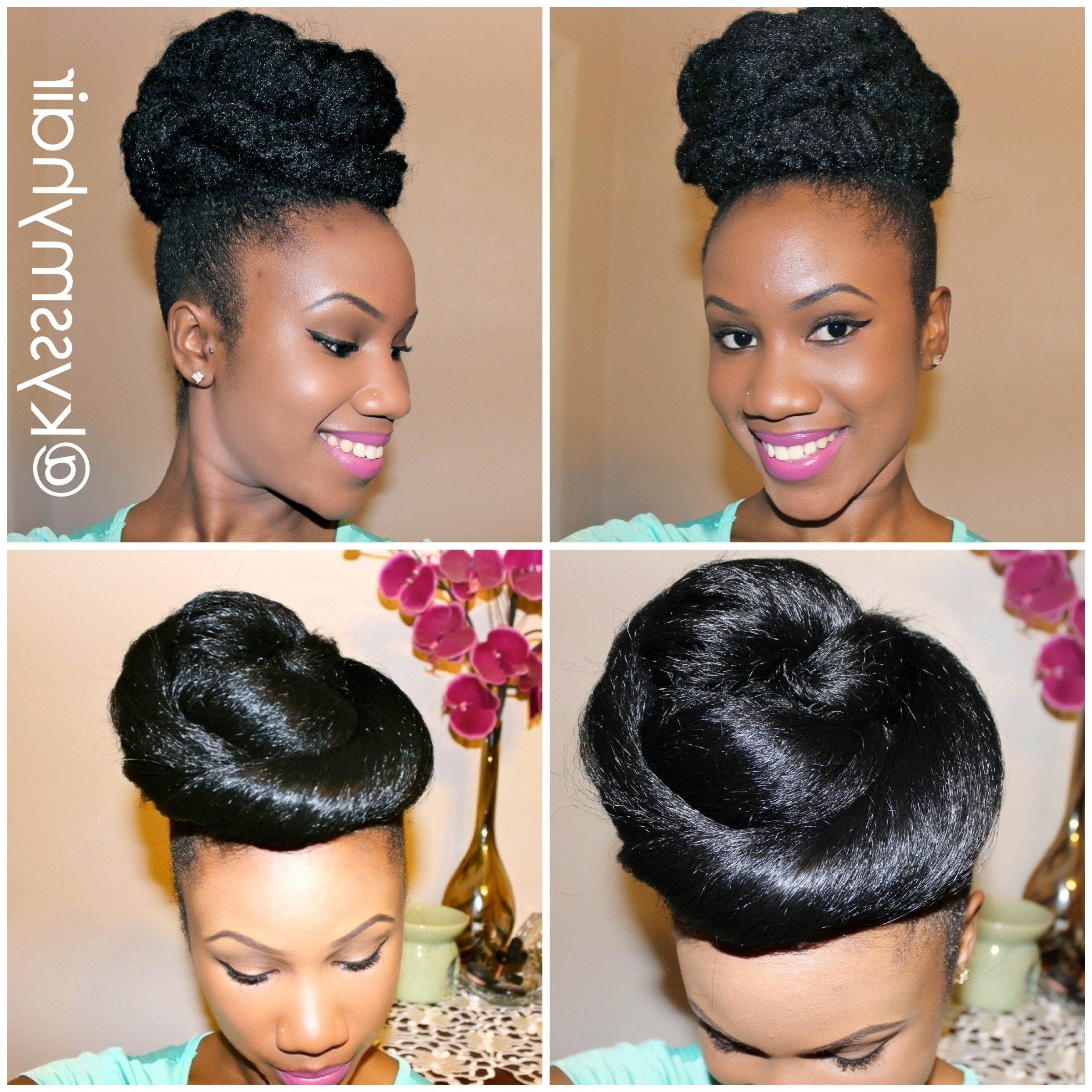New Special Occasion Natural Hair Bun Tutorial Up On My Youtube Best Intended For Natural Updo Bun Hairstyles (View 11 of 15)