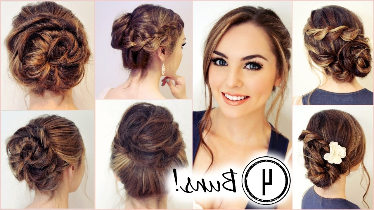 No Heat Hairstyles! 4 Unique Messy Buns – Jackie Wyers – Youtube Intended For Messy Bun Updo Hairstyles (View 5 of 15)
