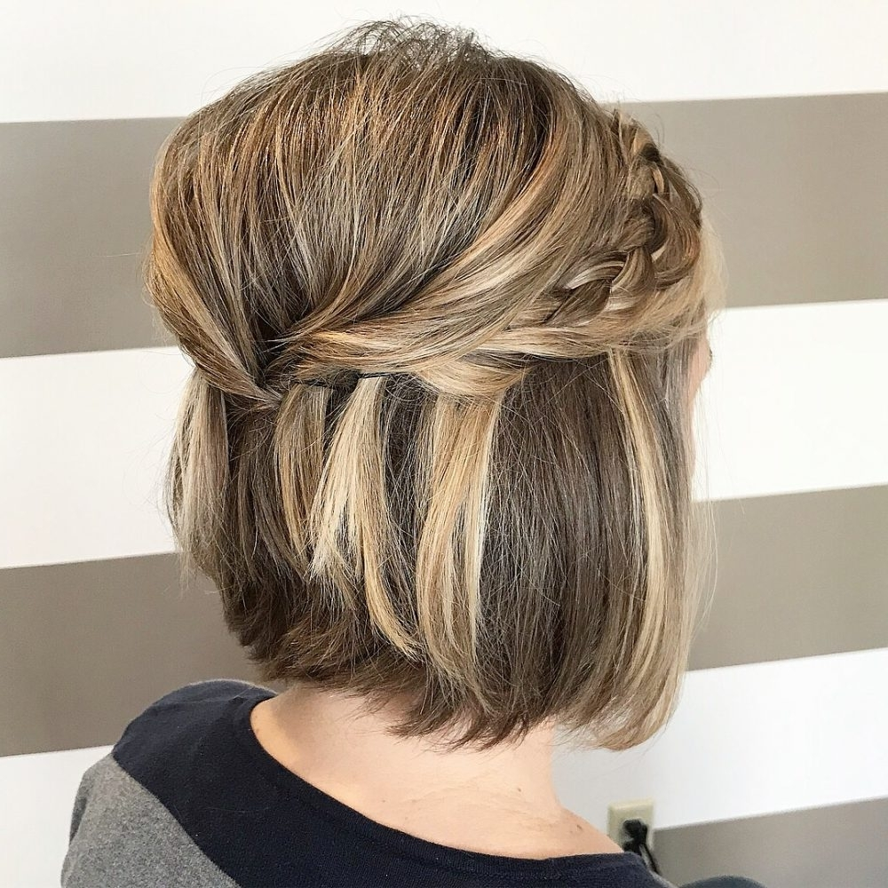 Our 24 Favorite Wedding Hairstyles For Short Hair Regarding Half Updo Hairstyles For Short Hair (View 10 of 15)