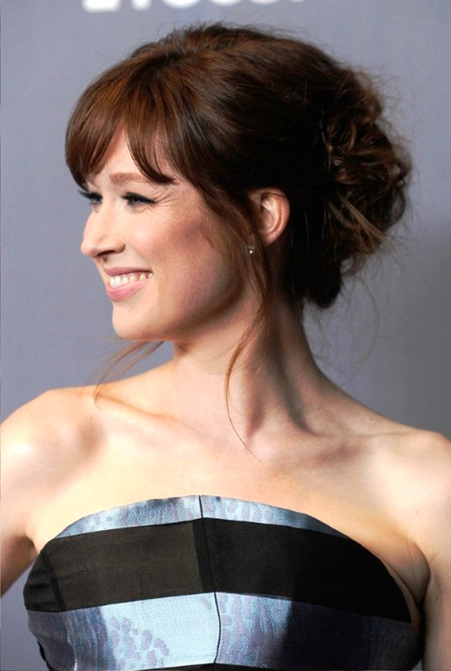 Pictures Of Ellie Kemper Cute Updo Hairstyle With Bangs With Regard To Updo Hairstyles With Bangs (View 14 of 15)
