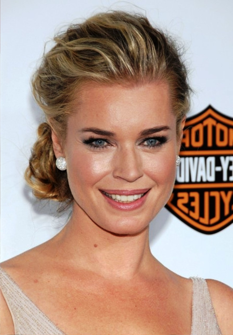 Pictures Of Rebecca Romijn Loose Messy Low Bun Updo Throughout Loose Bun Updo Hairstyles (View 13 of 15)
