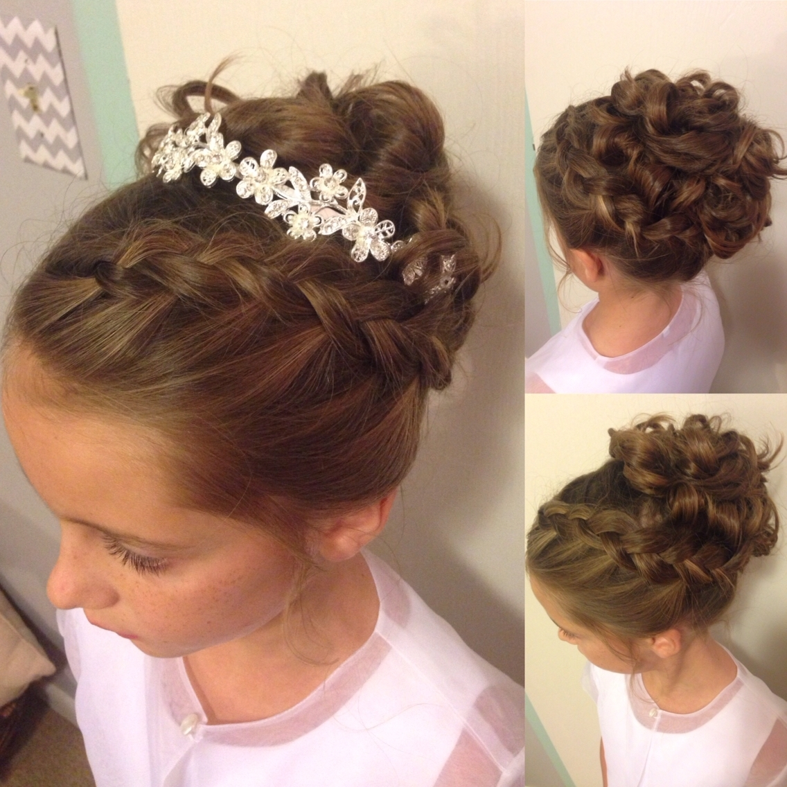 Pinmary Rose On My Work | Pinterest | Updo, Weddings And Girls For Updo Hairstyles With Flowers (View 8 of 15)