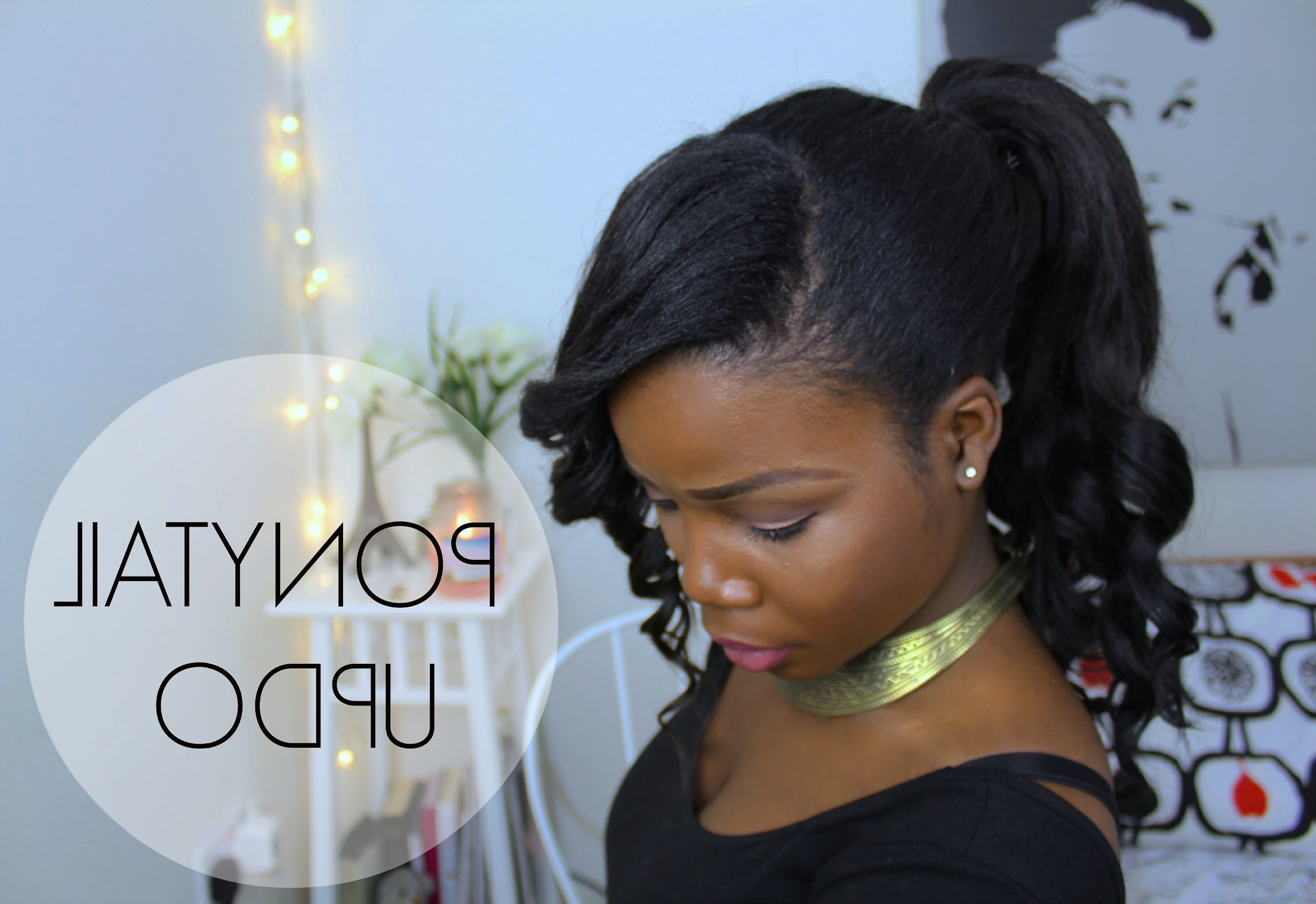 Ponytail Hairstyle Updo With Bangs ♥ | African Hair – Youtube With Black Hair Updo Hairstyles With Bangs (View 2 of 15)