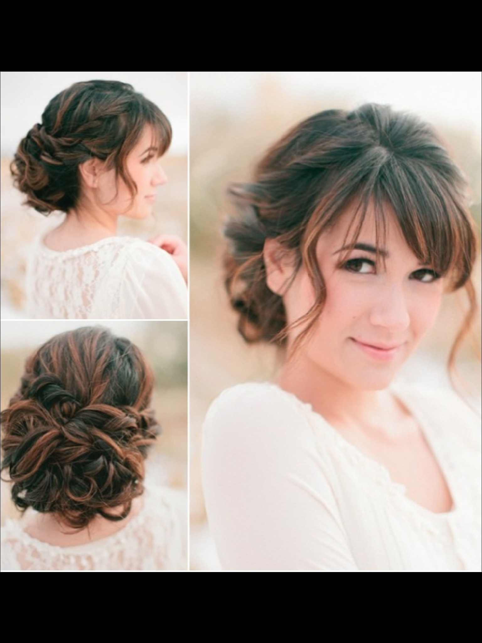 Pretty Updo For Long Curly Hair With A Fringe Awesome Collection Of Within Updo Hairstyles With Fringe Bangs (View 12 of 15)