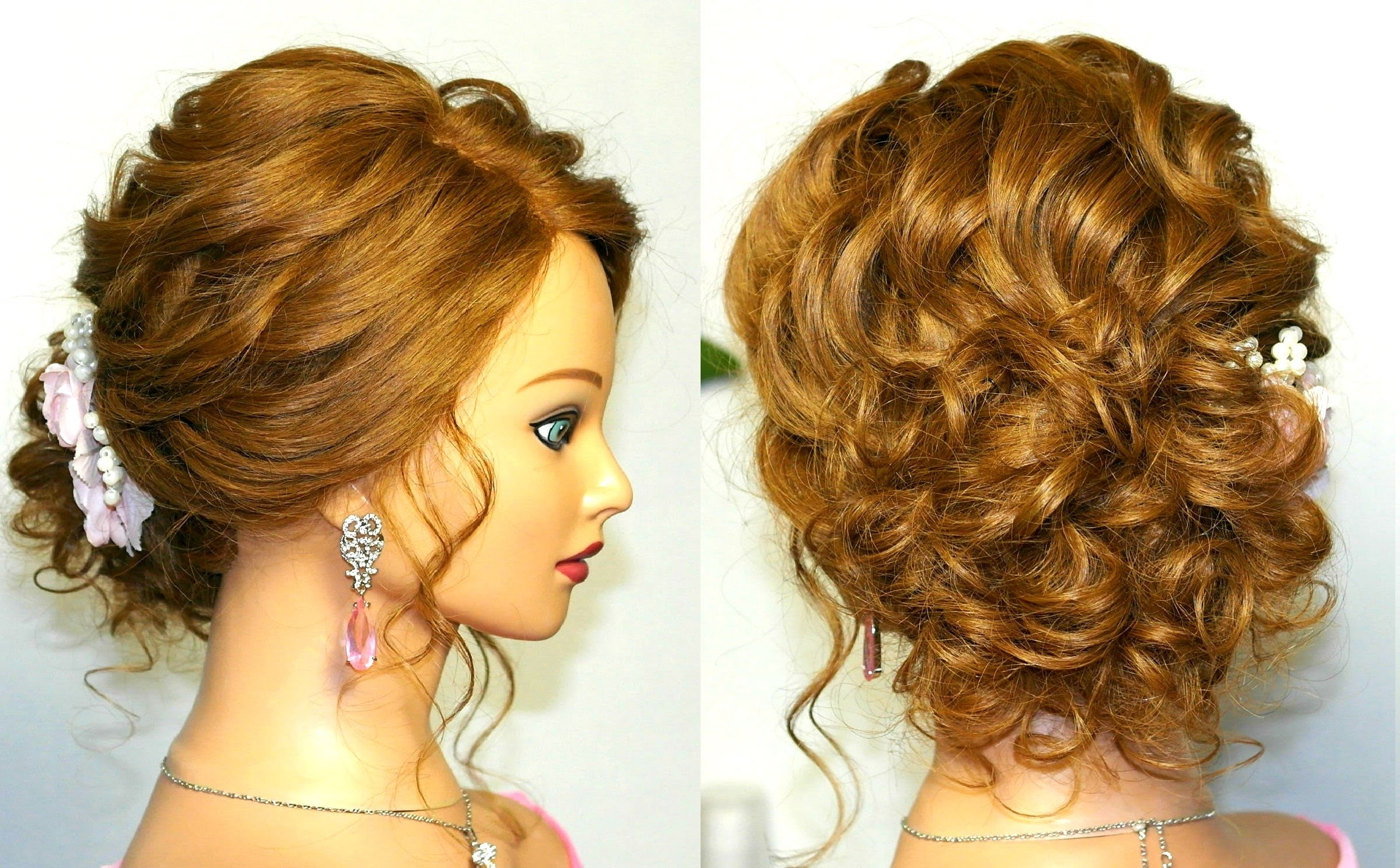 Prom Wedding Hairstyle, Curly Updo For Long Medium Hair Tutorial Intended For Updos For Curly Hair (View 14 of 15)