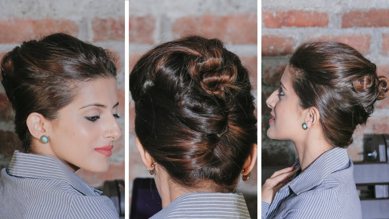 Quick And Easy French Twist Bun Updo | Updo Hairstyles – Youtube Intended For French Twist Updo Hairstyles For Short Hair (View 9 of 15)