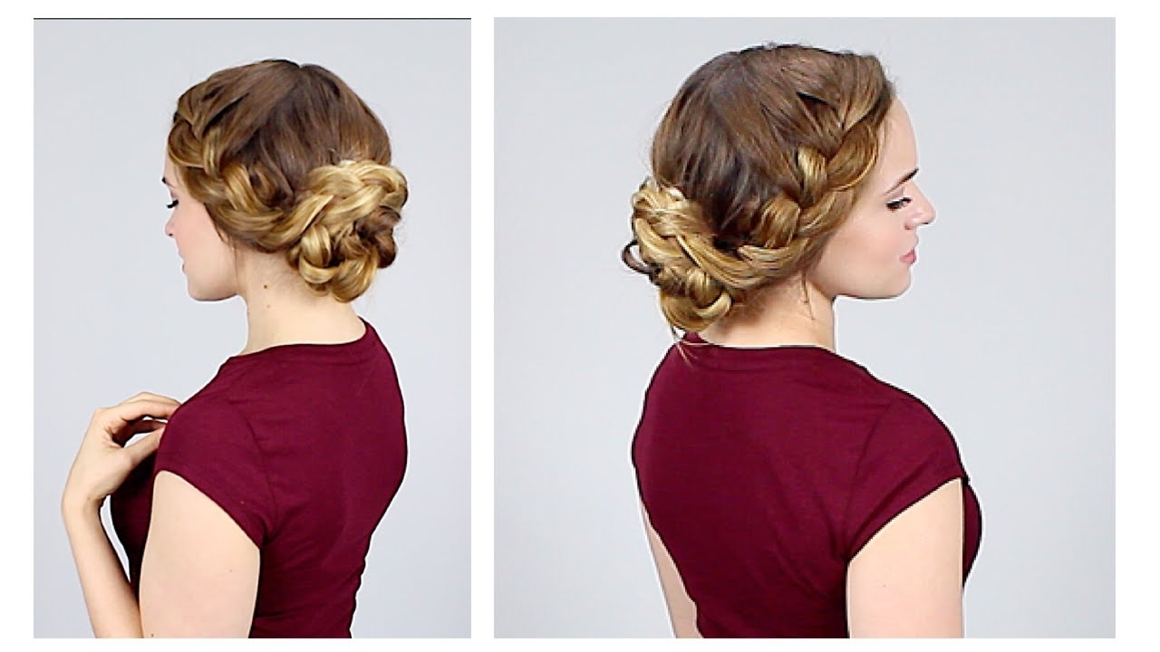 Quick Braided Updo For Back To School – Youtube Throughout Quick Braided Updo Hairstyles (View 15 of 15)