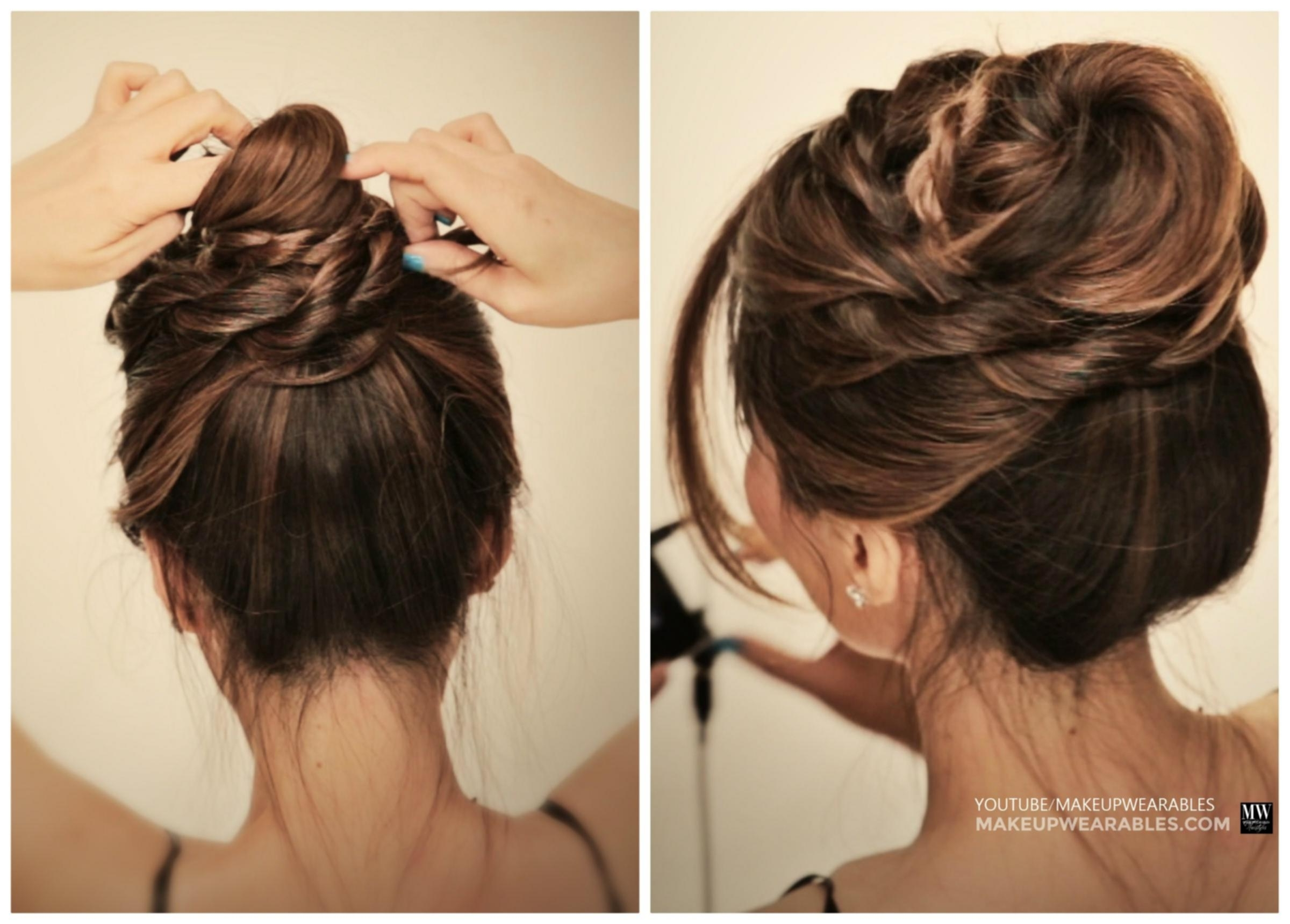 Quick Cute Messy Hairstyles Cute Messy Bun Braids Ballerina Twisted Pertaining To Quick Twist Updo Hairstyles (View 12 of 15)