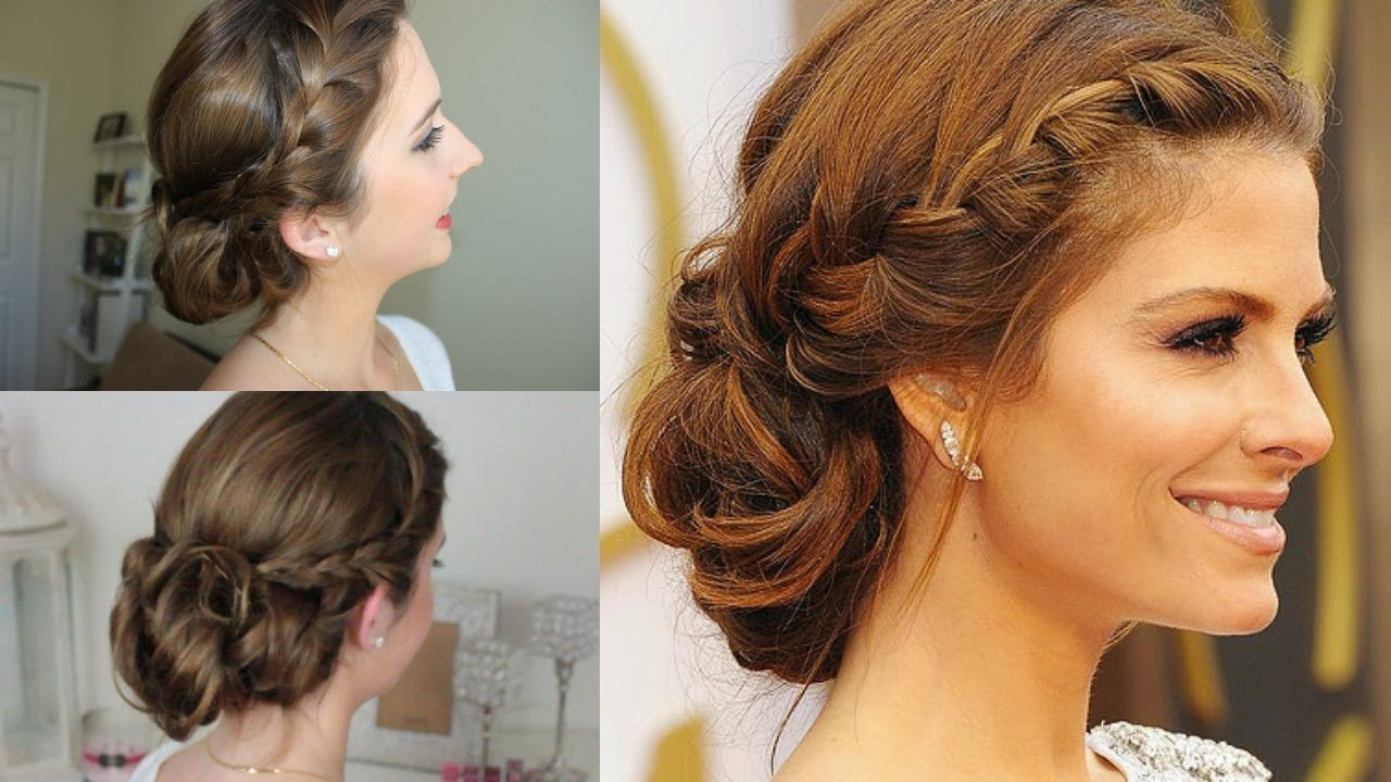 Quick & Easy Braided Messy Updo | Maria Menounos Oscars Inspired Intended For Easy Braided Updos For Medium Hair (Gallery 10 of 15)