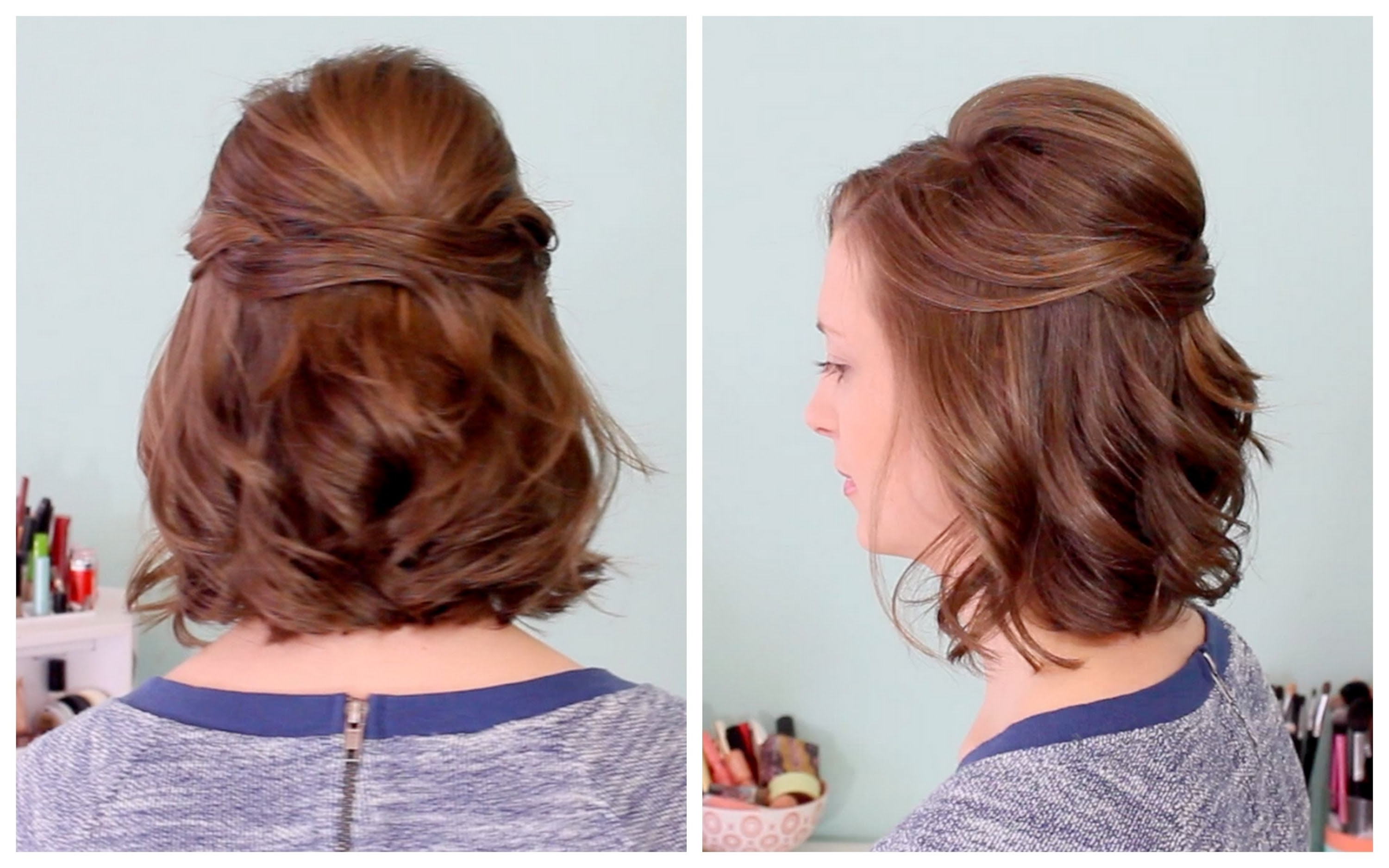 Quick Half Up Hairstyle For Short Hair – Youtube In Partial Updos For Medium Hair (Gallery 5 of 15)