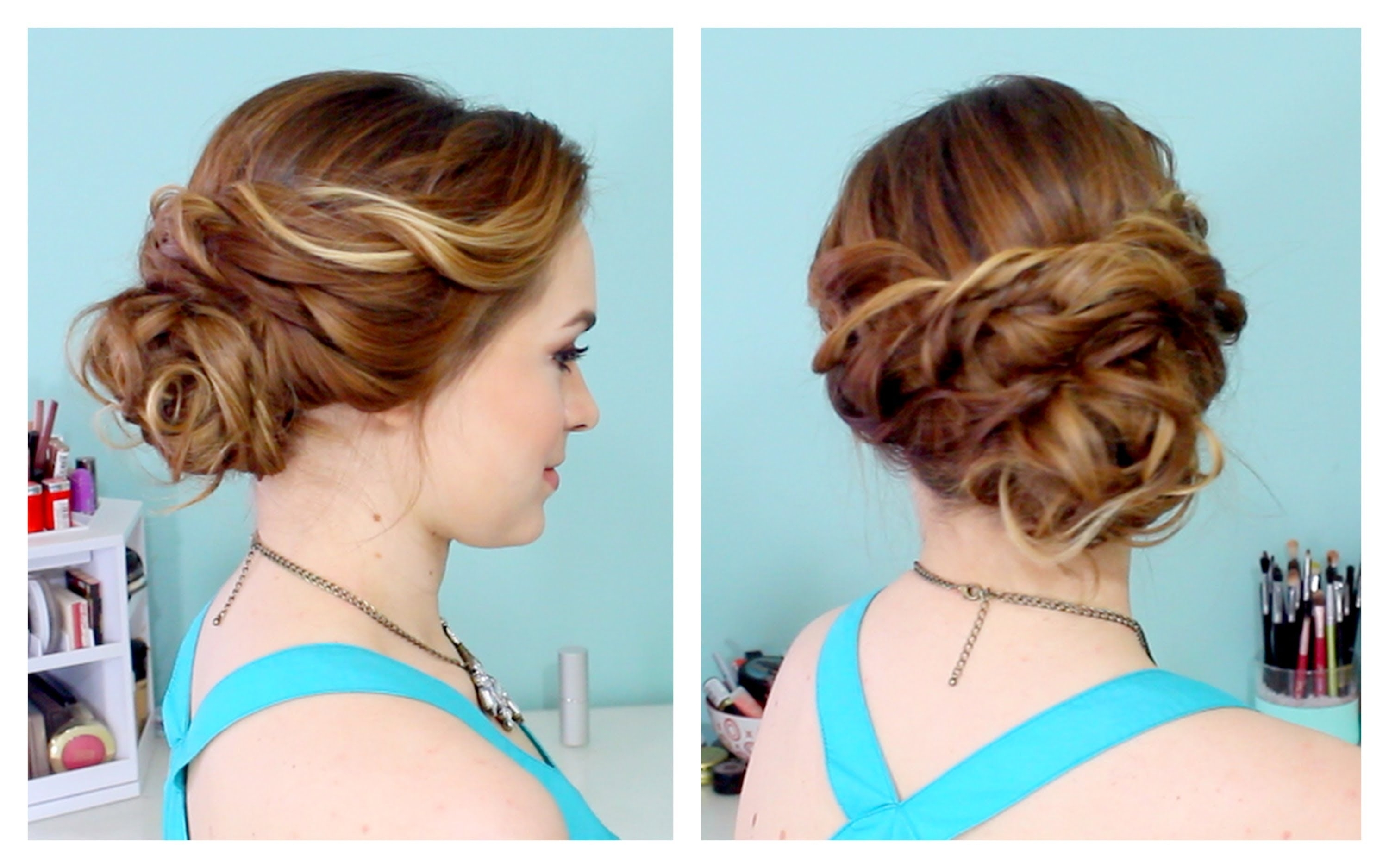 Quick Side Updo For Prom! (or Weddings! :d) – Youtube Inside Easy Hair Updo Hairstyles For Wedding (View 5 of 15)