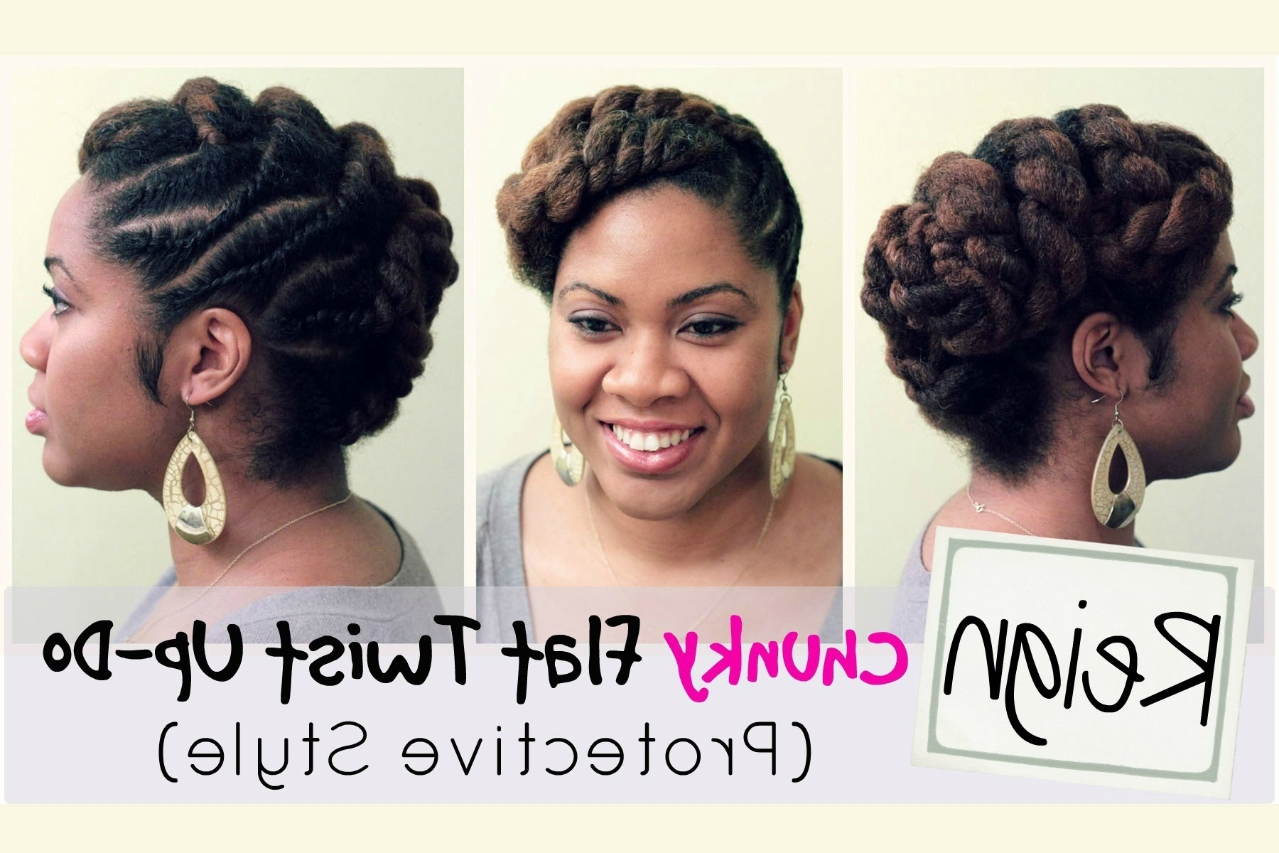 R: Reign | Protective Style And Flat Twist Updo On Natural Hair With Chunky Twist Updo Hairstyles (View 13 of 15)