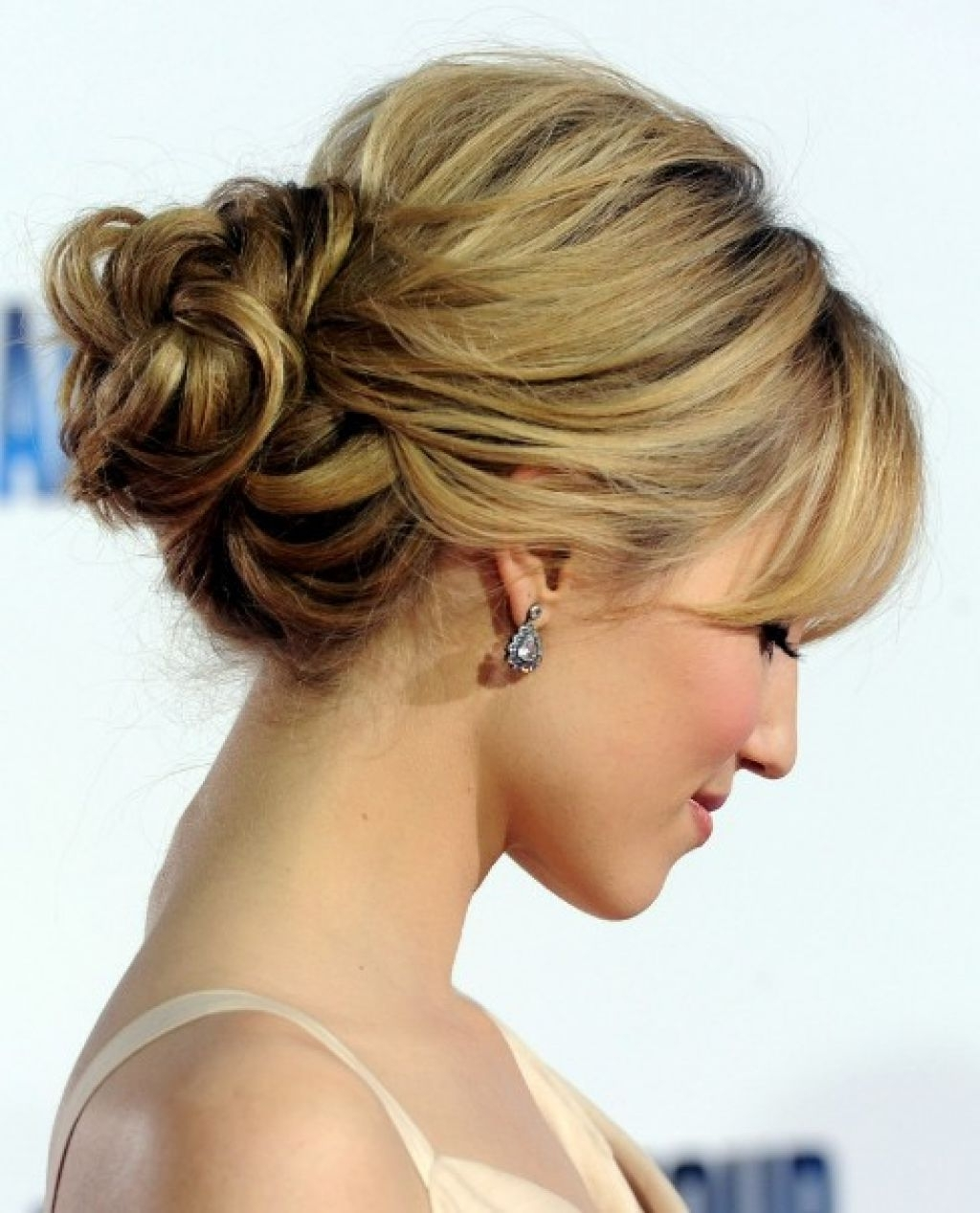 Romantic Loose Low Bun Updo For Wedding From Dianna Agron | Wedding Within Low Bun Updo Wedding Hairstyles (View 12 of 15)
