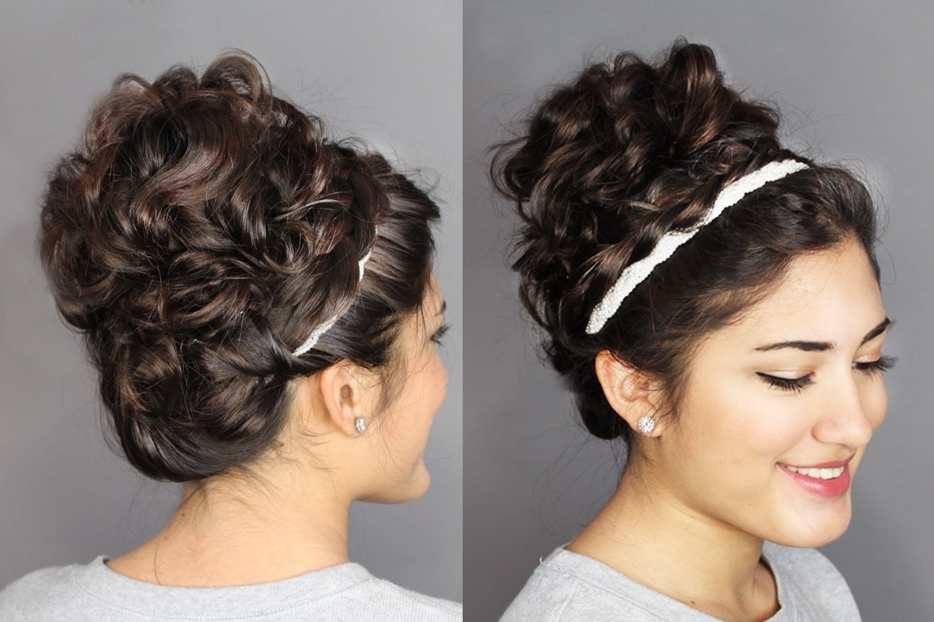 Second Day Hair Holiday Updo: Braided Headband & Messy, Curly Bun Regarding Curly Bun Updo Hairstyles (View 13 of 15)