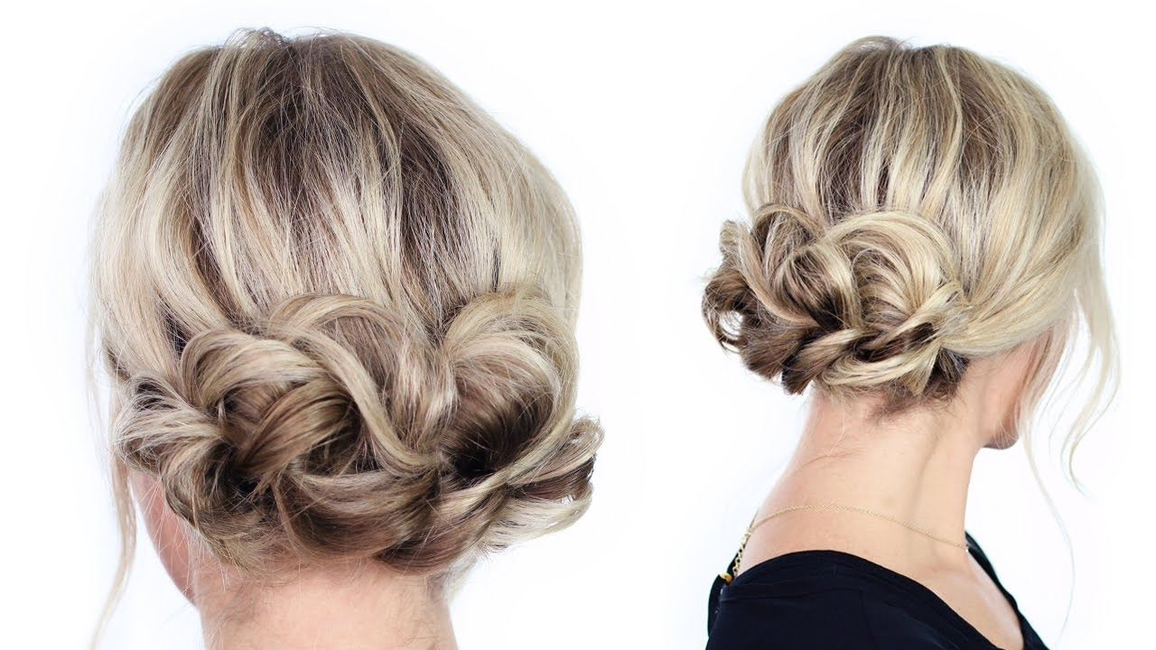Simple Holiday Updo – Youtube Throughout Cute Easy Updo Hairstyles (View 14 of 15)