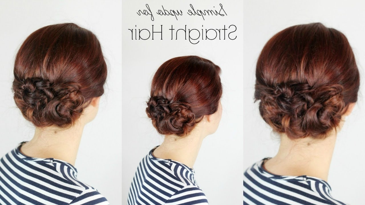 Simple Updo For Straight Hair – Youtube Pertaining To Easiest Updo Hairstyles (View 13 of 15)