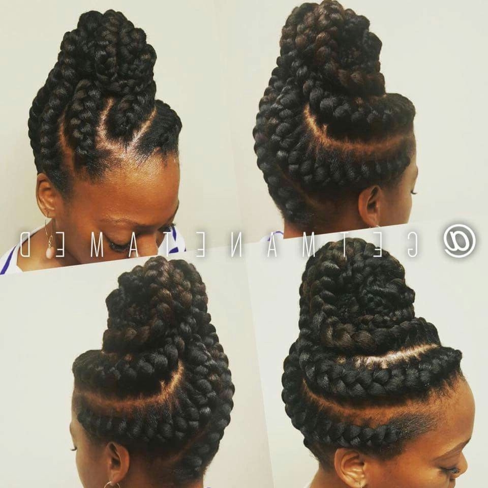 Stunningly Cute Ghana Braids Styles For 2018 | Goddess Braids Updo Intended For Updo Braid Hairstyles (View 6 of 15)