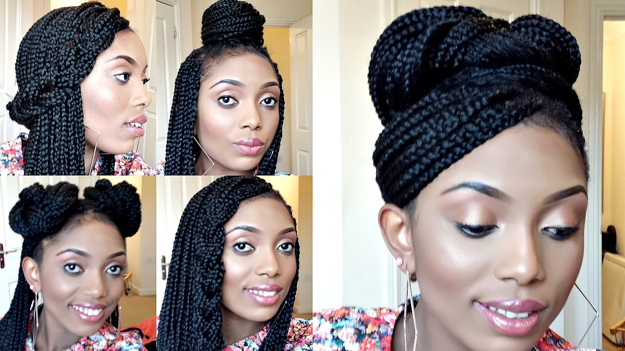 Styling Box Braids/ 6 Simple And Elegant Styles – Youtube Intended For Box Braids Updo Hairstyles (View 12 of 15)