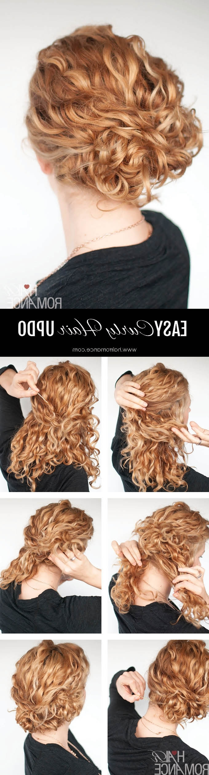 Super Easy Updo Hairstyle Tutorial For Curly Hair – Hair Romance In Easy Updos For Long Curly Hair (View 8 of 15)