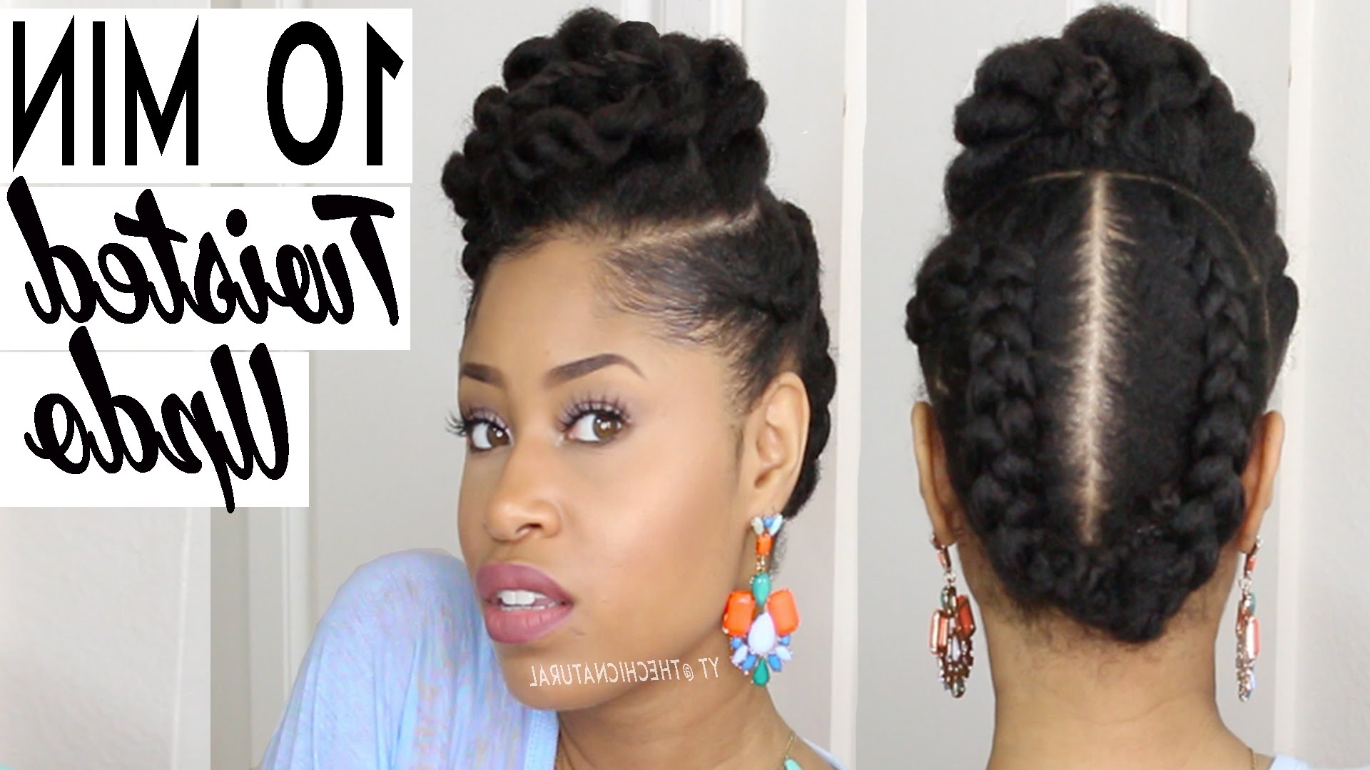 The 10 Minute Twisted Updo | Natural Hairstyle – Youtube Intended For Natural Updo Hairstyles For Black Hair (View 13 of 15)