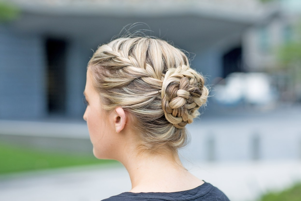 The Best Braided Hairstyles For Fine Hair And Curly Hair | Glamour Inside Updo Braid Hairstyles (View 14 of 15)
