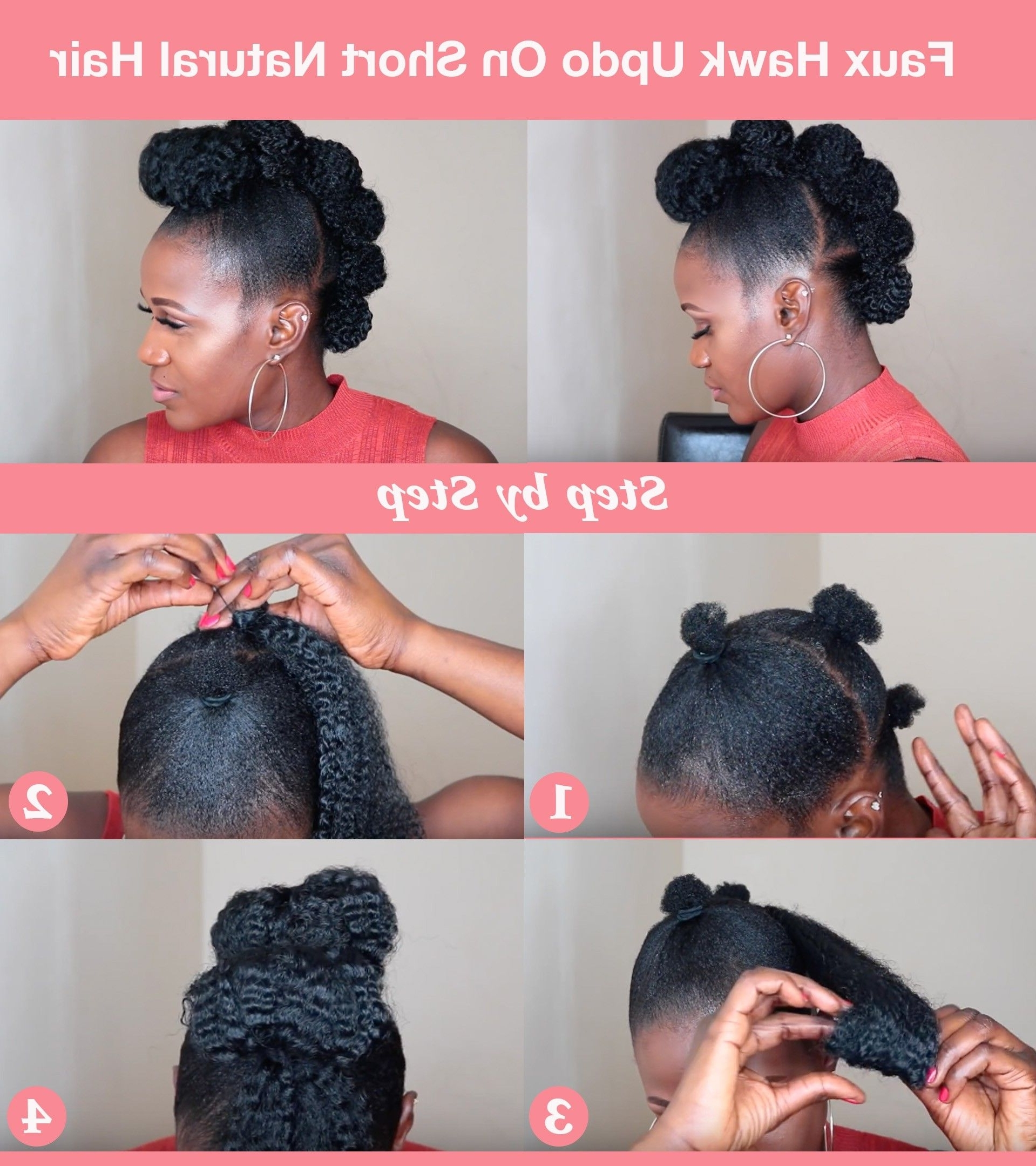Top 6 Quick & Easy Natural Hair Updos | Faux Hawk Updo, Short Within Quick And Easy Updo Hairstyles For Black Hair (View 14 of 15)