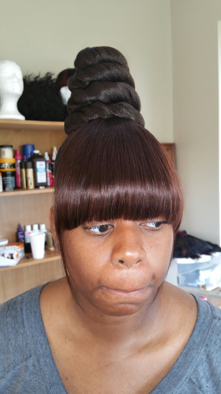 Top Knot, Chinese Bang, Ponytail, Ninja Knot, Twist Bun, Easy Hair Regarding Updo Hairstyles With Bangs For Black Hair (View 14 of 15)