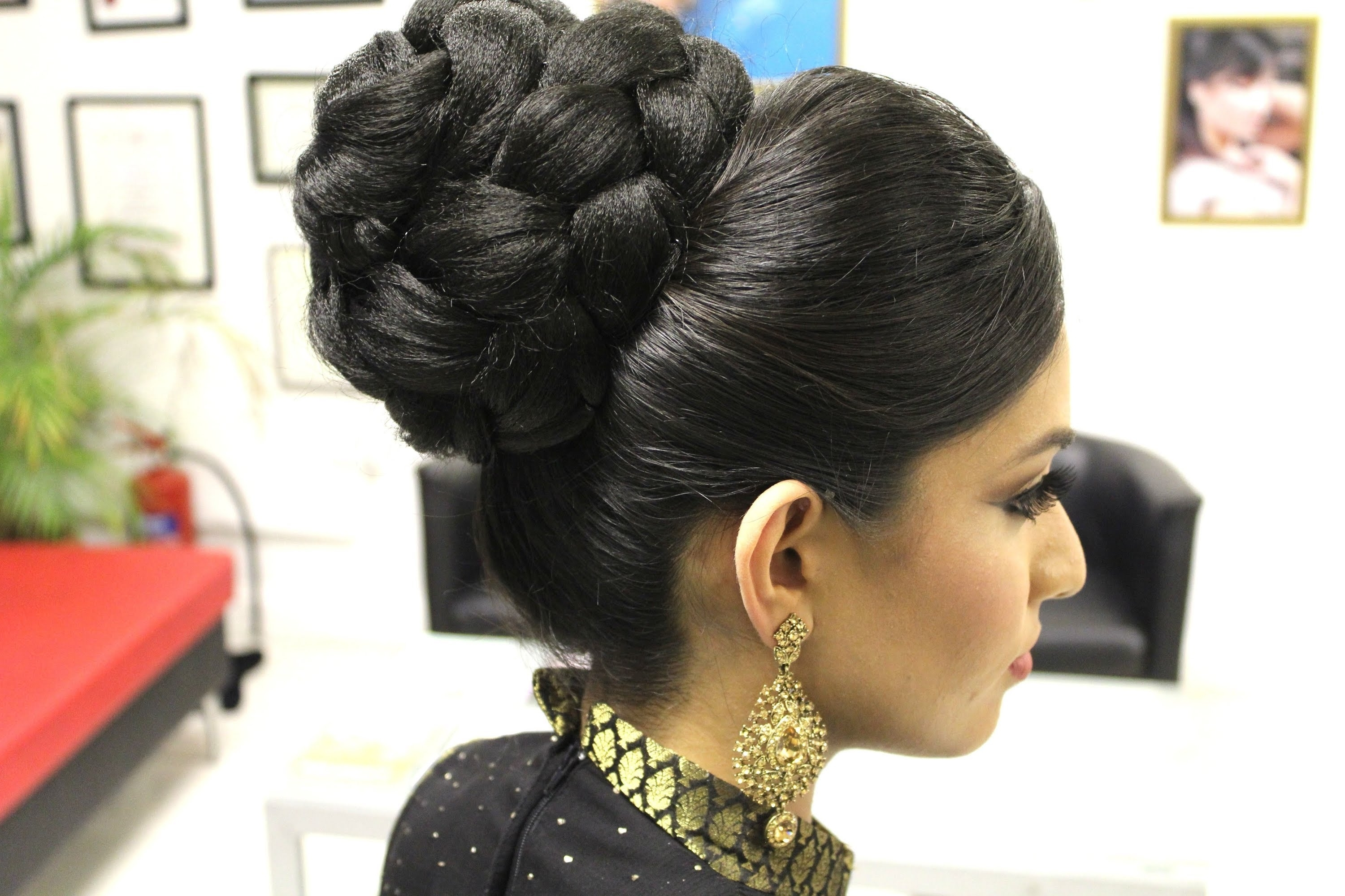 Tutorial: Indian Bridal Hairstyle – Youtube With Indian Wedding Updo Hairstyles (View 8 of 15)