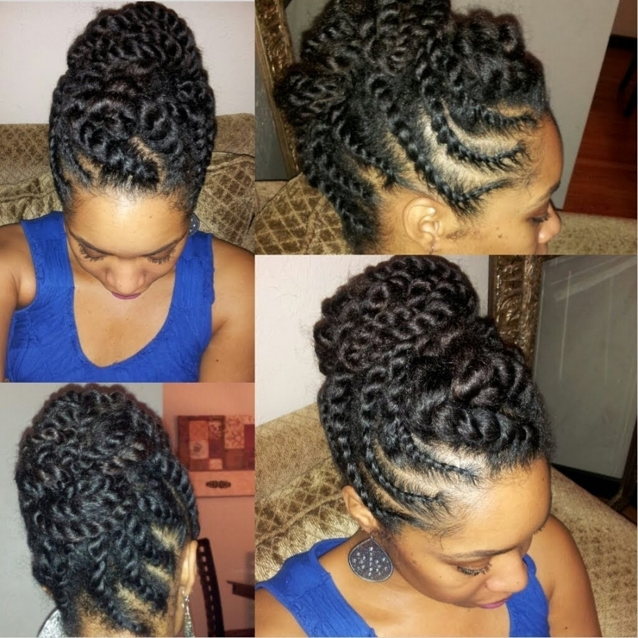 Twist Updo Hairstyles Natural Hair African American Flat Twist With Regard To Braids And Twist Updo Hairstyles (View 12 of 15)