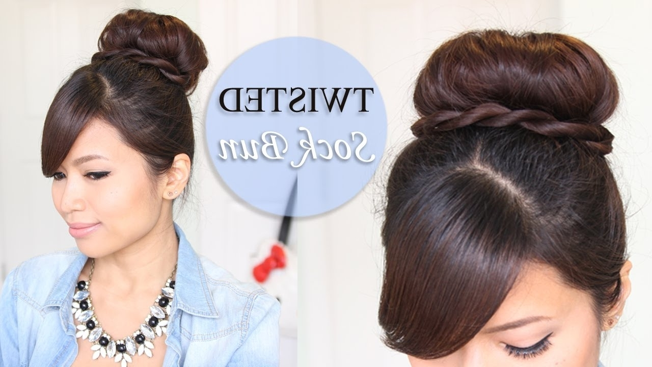 Twisted Sock Bun Updo Hairstyle | Long Hair Tutorial – Youtube With Updo Hairstyles With Bangs For Medium Length Hair (View 12 of 15)