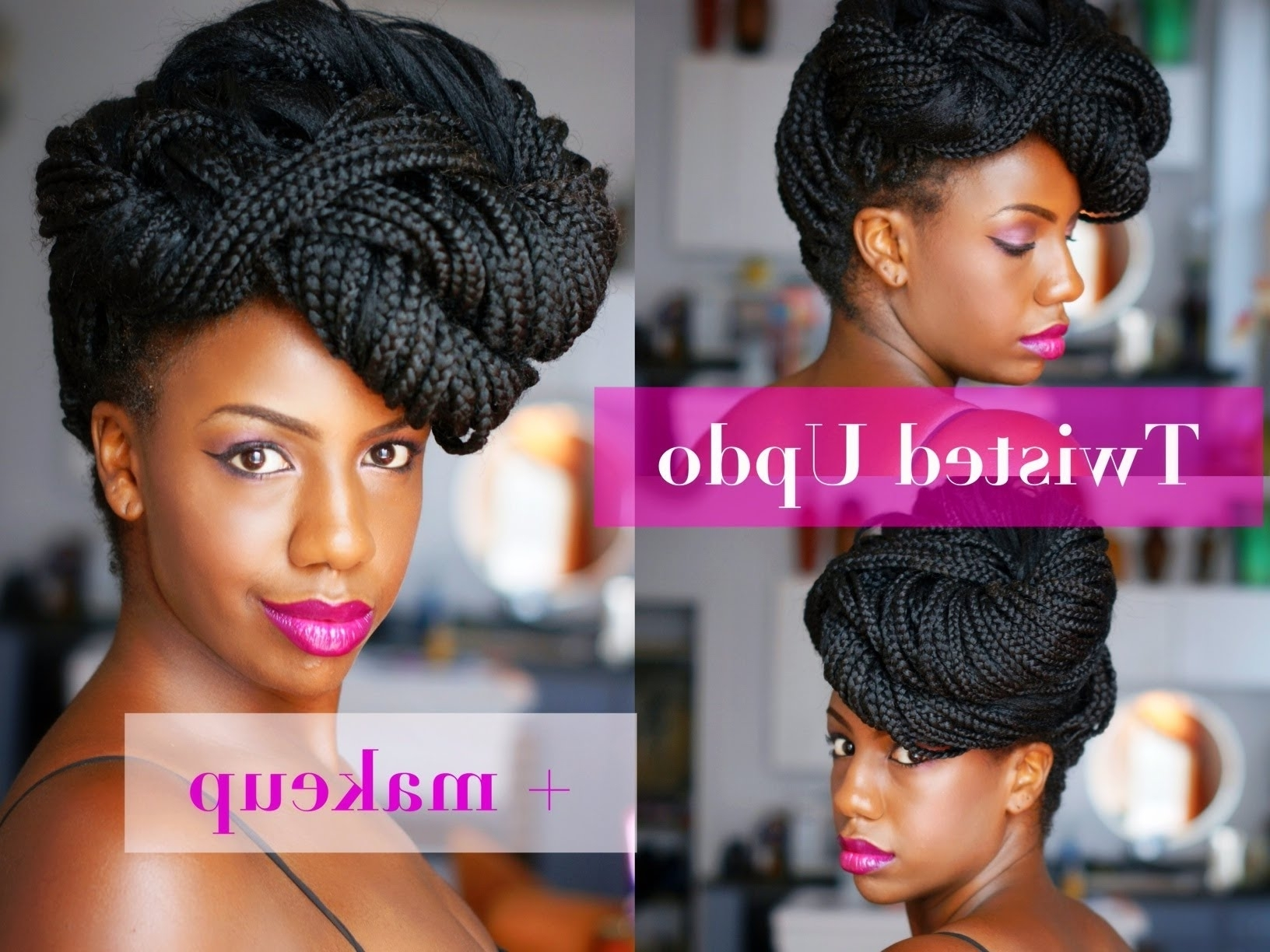 Twisted Updo For Havana Twists, Marley Twists, Senegalese Twists Intended For Senegalese Twist Styles Updo Hairstyles (View 3 of 15)