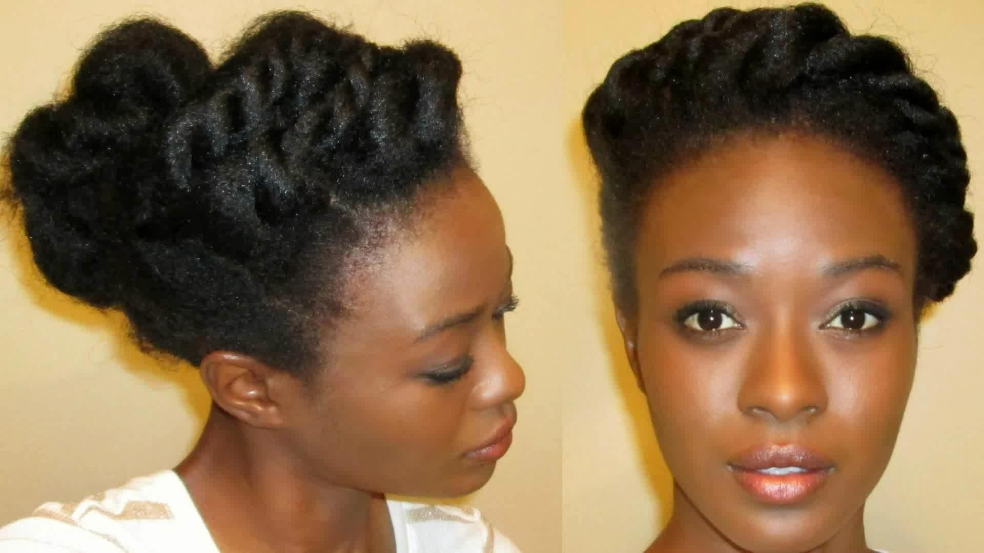 Two Strand Twist Updo On Stretched 4C Natural Hair – Youtube Pertaining To 2 Strand Twist Updo Hairstyles (View 13 of 15)