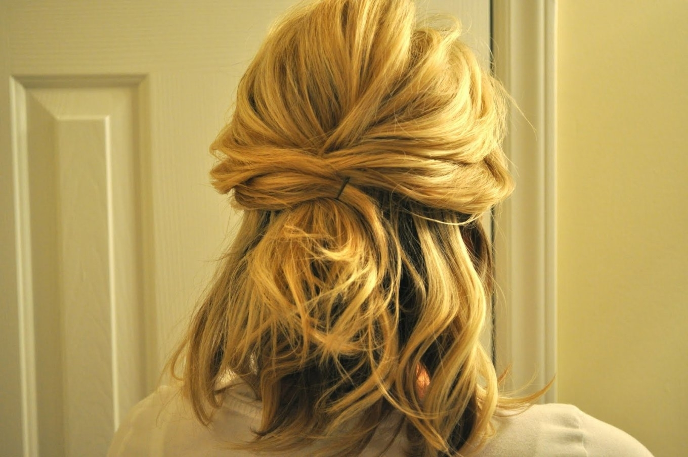 Up Wedding Hairstyles Medium Length Hair Half Up To Full Updo | Best Pertaining To Half Updos For Shoulder Length Hair (View 14 of 15)