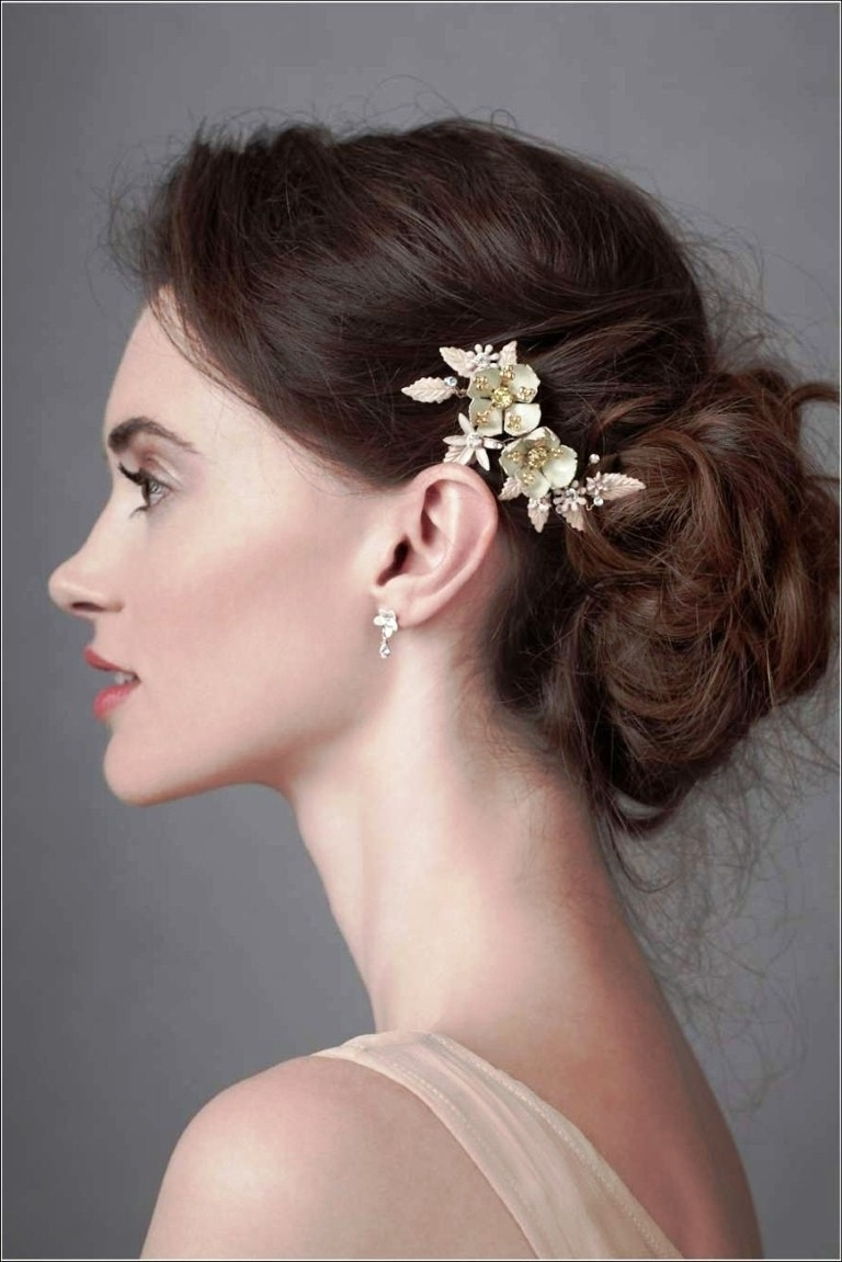 Updo Hairstyle For Thin Hair Wavy All Down Medium Length Wedding With Regard To Bridesmaid Updo Hairstyles For Thin Hair (View 4 of 15)