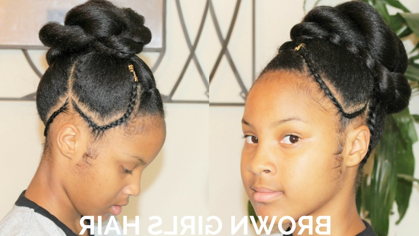 Updo Hairstyle With Cornrows | Natural Hairstyle Girls – Youtube Throughout Updos Hairstyles For Natural Black Hair (Gallery 7 of 15)