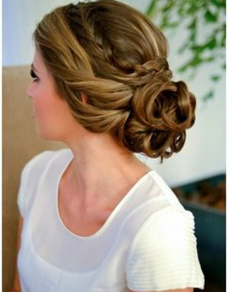 Updo Hairstyles Braided Low Updo Hairstyles For Curly Hair Wedding Pertaining To Bridesmaid Updo Hairstyles (View 9 of 15)