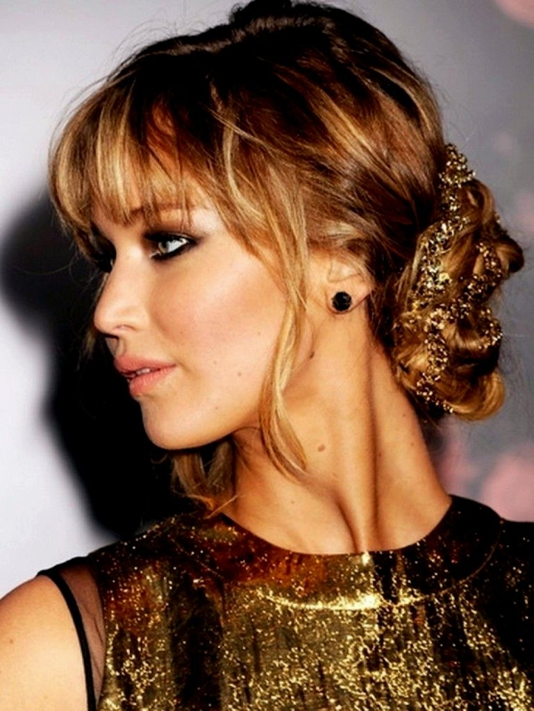 Photo Gallery Of Updo Hairstyles With Fringe Bangs Viewing 4 Of 15