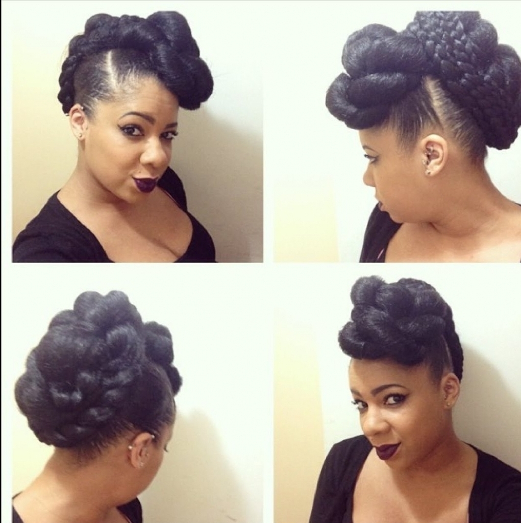 Updo Hairstyles With Braiding Hair Natural Hairstyle Faux Hawk Within Updo Hairstyles With Braiding Hair (Gallery 2 of 15)