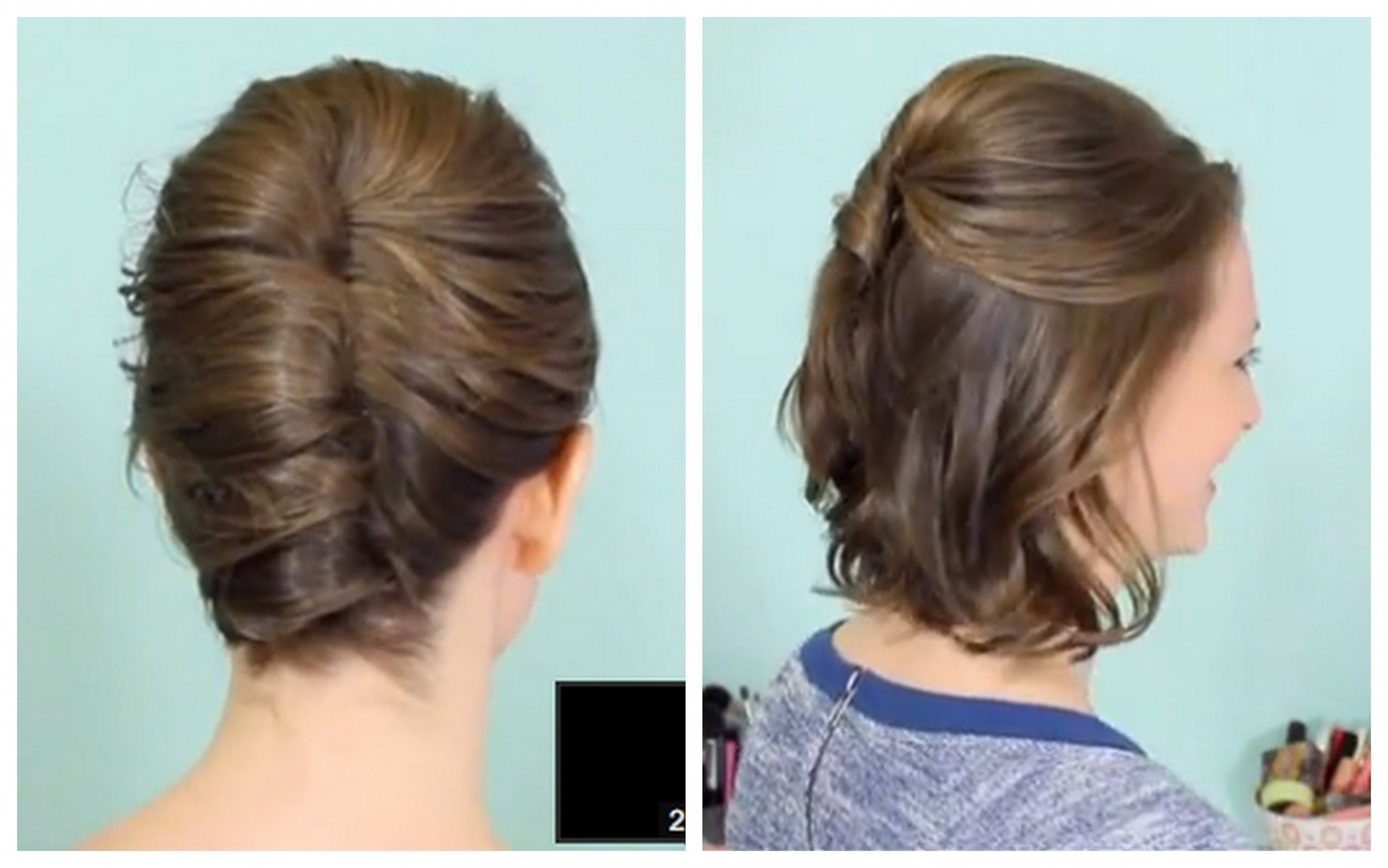 Updo Short Hairstyles French Twist Half Updo For Short Hair | Latest Inside French Twist Updo Hairstyles For Short Hair (Gallery 6 of 15)