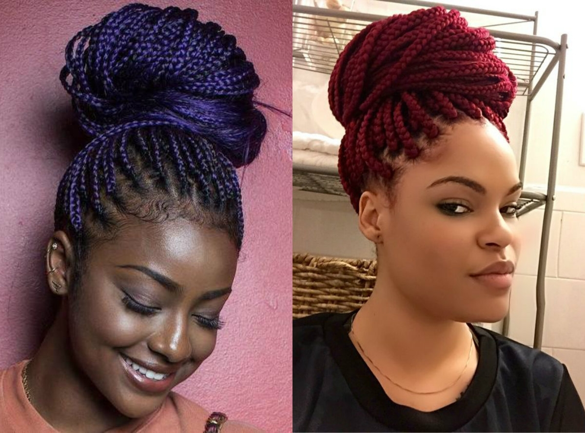 Hairstyles Braids: 2018 Latest Box Braids Updo Hairstyles
