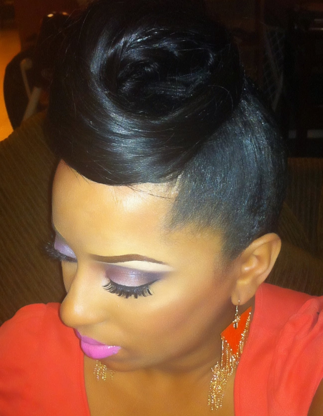 Updo Weave Hairstyles Black Hair Cute With For Women Easy Without With Updo Hairstyles With Bangs
