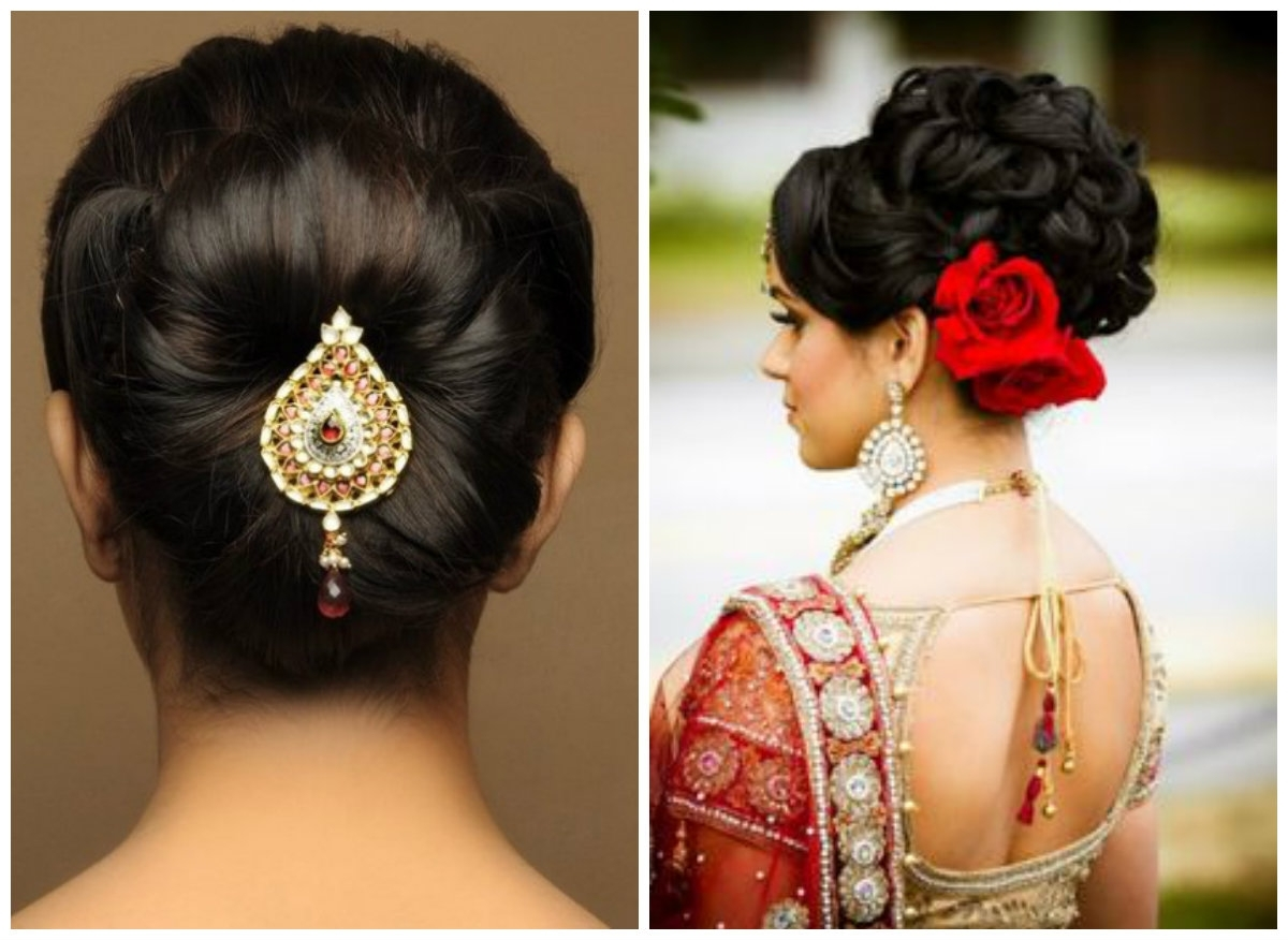 Various Indian Hairstyle Of Medium Length For Weddings – Hairzstyle Intended For Indian Updo Hairstyles (View 8 of 15)